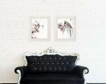 "Set of Prints, 11x14""  Wall Hanging, Nature Art Print  of Parrot and Bird, Set of 2"