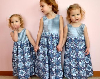 Maxi Dress for Girls PDF sewing patterns, maxi dress sewing pattern, girls dress, girls maxi dress pattern, pdf