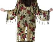 SALE 20% OFF // Eden Floral Velvet Burnout Beaded Fringe Tassel Kimono