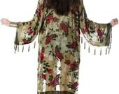 SALE 20% OFF // Eden Floral Velvet Burnout Beaded Fringe Tassel Kimono