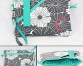 iPhone 8 wallet with extra zipper pocket, Personalized Samsung Galaxy S8 wristlet wallet, iPhone 7 plus Clutch, Graduation gift. (PWFTBZ)