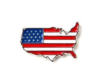 USA Lapel Pin - Tie Tack - Valentine's Gift - Handmade - Gift Box Included