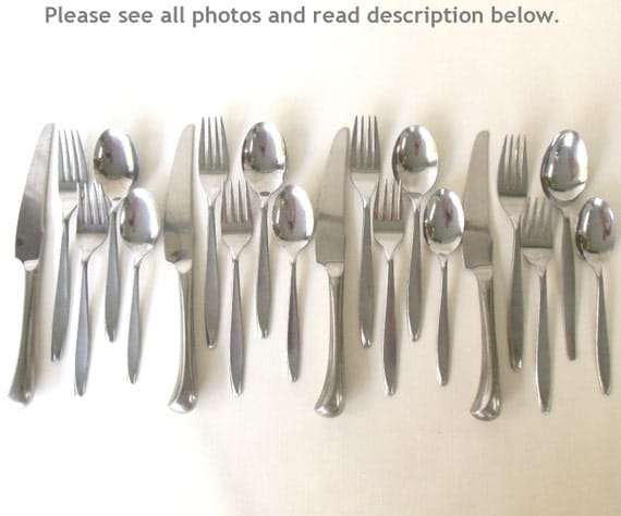 Mid century modern stainless flatware set service for 4 insico - Contemporary stainless flatware ...