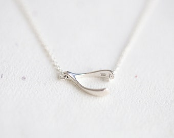 Sterling Silver Sideways Wishbone Necklace - horizontal wish bone 925 silver necklace by petitor ets