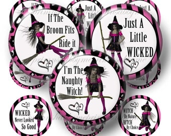NAUGHTY WITCH, Digital Collage Sheet. Halloween, Bottle Cap Images, 1 Inch Circles, Hot Pink, Zebra Print, Images For Jewelry, Crafts