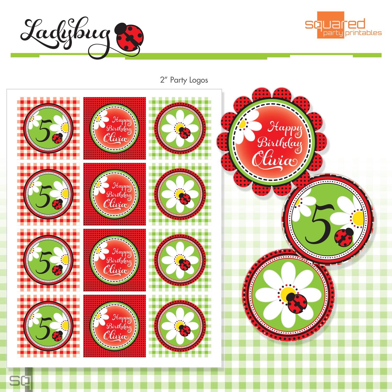 Red Ladybug Printables 2 Birthday Party Circles DIY