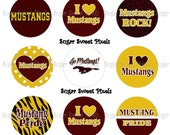 INSTANT DOWNLOAD Maroon & Gold Mustangs  2 1 inch circle Bottlecap Images