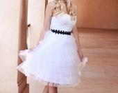 Ready to Ship SALE - Short Wedding Dress, Sweetheart Neckline, tulle wedding dress, strapless, corset, white Reception Dress, Garden Wedding
