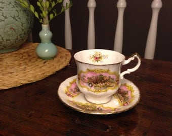 Vintage Paragon Teacup and Saucer Bone China Chippendale Pattern 1950s England