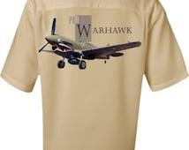 Men's Airplane Shirt- Curtiss P-40 Warhawk- World War II- Fighter Plane, Aviation Shirt,Airplane Gift,Vintage airplane,military gift,for him