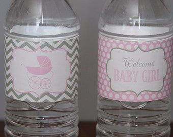 Baby Carriage Girl Baby Shower Water Bottle Labels - Pink & Grey - Instant Download