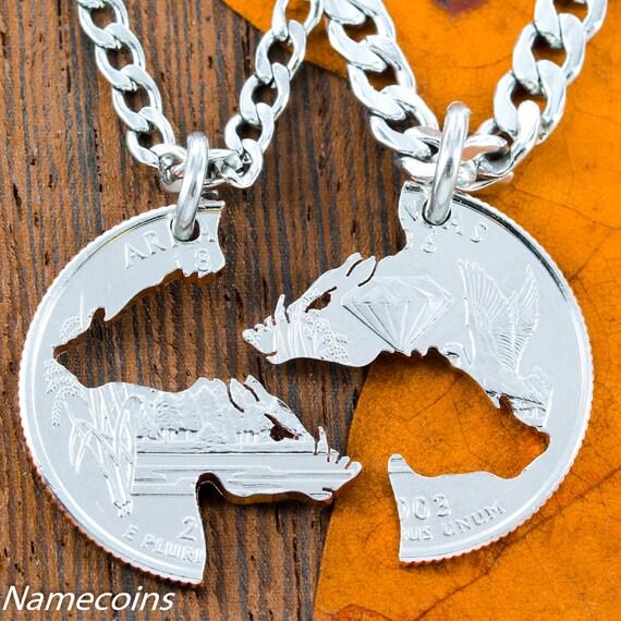 Hogs Necklaces, Interlocking Set on Arkansas Quarter, for boar hunters or hog theme, cut coin