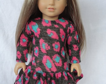 American Girl-18 Inch Doll Drop Waist Ruffle Dress Pink Cheetah