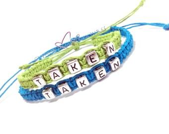 Taken Bracelets, Couples Bracelets, Boyfriend Girlfriend Jewelry, Couples Gift, Lime Green Blue Hemp, Set of 2 hemp bracelet, eco friendly