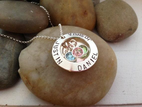 Hand Stamped Mother's Necklace, Custom Locket, Personalized Mother's Jewelry, Hand stamped Jewelry, Birthstone Locket Jewelry
