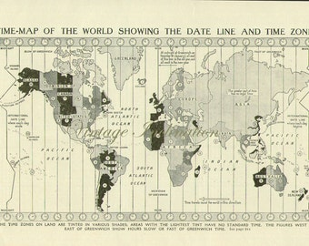 ANTIQUE PRINT Vintage World Map Time 1950s original