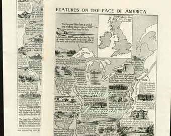 1930s Antique UNITED STATES Physical Features, Vintage us map original b/w map for framing