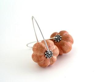 Clay pumpkin earrings, air dry clay, rust orange, sterling silver, Halloween Thanksgiving jewelry, sculptured earrings, autumn, rustic