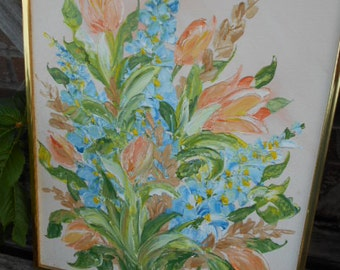 Impasto/FLORAL PAIR/SIGNED/1970s/Peach/Blue/Flowers/Framed in Gold Metal