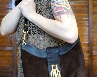 Vtg 60s Brown Leather Suede Handbag / Mod Purse
