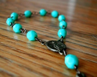 One-decade/pocket rosary: teal beads, antique brass, wire wrapped