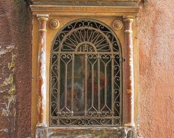 Venice Photograph, Madonnella Photo, Tiny Altar Picture, Orange Decor, Catholic Art, Wall Art, Fine Art Photography, Italy Prints, Religious