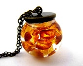 Soaring amber necklace II - floating real amber in glass orb - big, long bronze necklace. FREE SHIPPING.
