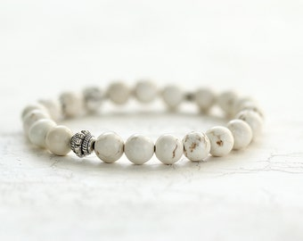 White Turquoise Beaded Bracelet - Bohemian Jewelry for Stacking and Layering