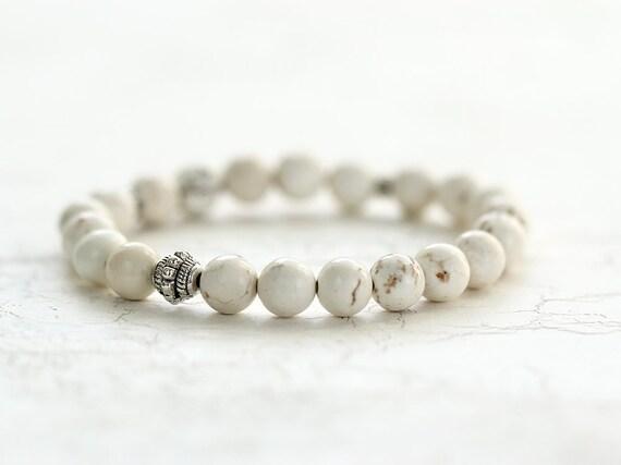 White Turquoise Bracelet - White Stretch Bracelet