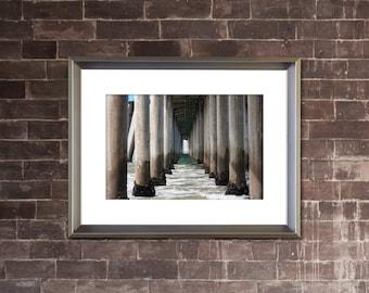 PIER Photograph - HUNTINGTON BEACH California - Coastal Ocean Architectural Picture