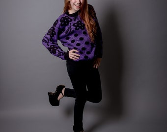 Vintage 80s Graphic Purple and Black Flower Sweater Medium Fits Most