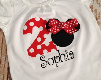 Minnie Mouse Inspired Shirt - Red, Birthday Party Shirt, Disney Vacation Shirt