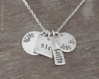 Sterling Silver Hand Stamped Name Necklace - Four Names Mommy Necklace - Personalized Mothers Jewelry