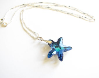 Starfish Necklace Bermuda Blue Swarovski Crystals Sterling Silver 18in Boxchain