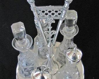 Wilcox Silverplate 19thC Victorian 5pc Etched Glass Rotating Cruet Set