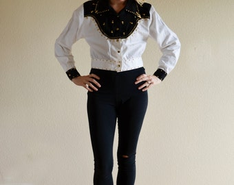1970s XS/SML black white cropped and gold studded disco wester jacket