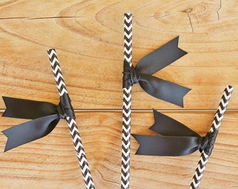 Set of 25 - BLACK and White CHEVRON STRAWS with Black Satin Ribbon Flags Wedding decor baby shower birthday party bachelorette