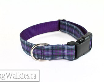 "Pride of Bannockburn Tartan Dog Collar - 1"" (25mm)Wide - Purple Plaid - Choice of style and size - Martingale Dog Collars or Quick Release"