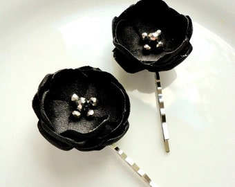 2 Small Black Hair Clips, Black Hair Accessories, Satin Black Flower Hair Accessory, Black Hair Pins, Black Hair Piece, Hairpiece, Bobby Pin