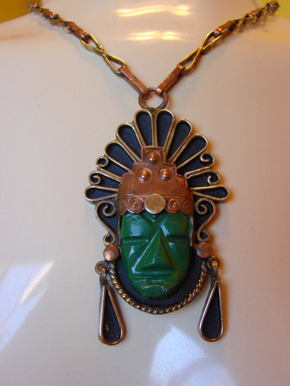 Vintage Mexican Copper Mayan Aztec Warrior Pendant Necklace