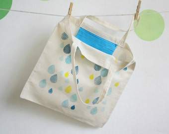 Eco Tote Bag - Cotton totebags hand printed - Blue drops tote bag - Back to School Tote bag
