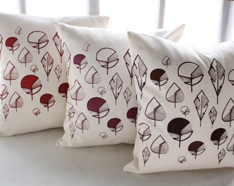 """THROW PILLOW in raw color cotton with leaves hand printed - Cushion cover 18""""x18"""" - Modern decorative pillow cover leaves in autumnal colors"""