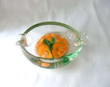 Murano Sommerso Painted Cased Glass Ashtray, Controlled Bubbles on Orange Flowers, Venetian Art Glass