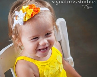 Candy Corn Halloween Headband - Orange Yellow White Headband - Flower Headband - Infant Toddler Teen Adult Headband - Halloween Headband
