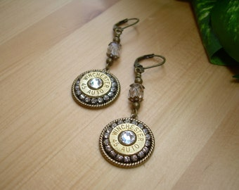 Bullet Jewelry ~ 45 Auto Winchester ~ Bullet Casing Earrings ~ Clear Crystals Rhinestones