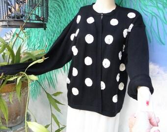 Vintage H.J. Arnold Black & White Sequin Polka Dot L/S Cardigan Sweater,  80's/90's, Drop Shoulders