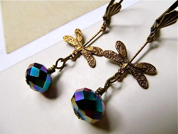 Art Nouveau Earrings Dragonfly Earrings Art Deco Earrings Crystal Earrings Brass Purple Earrings Blue Earrings- Flight
