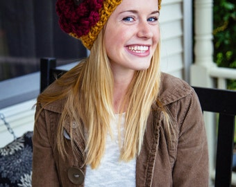 Bulky Knit Hat with Extra Large Flower