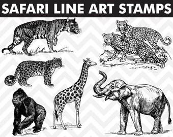 80% OFF Sale Clipart Safari Jungle Animals Line Art Digital Stamps Elephant Tiger Giraffe Gorilla