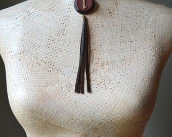 SALE! Key Tassle Necklace Tribal Millitary Fashion Maroon and Black Handmade OOAK